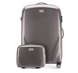 Комплект (Большой чемодан + косметичка), серый, 56-3P-573_4-70, Фотография 1