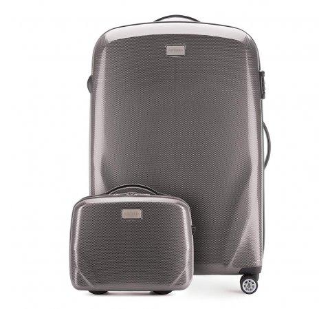 Комплект (Большой чемодан + косметичка), серый, 56-3P-573_4-35, Фотография 1