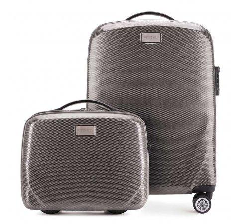 Комплект ( чемодан ручная кладь + косметичка), серый, 56-3P-571_4-70, Фотография 1