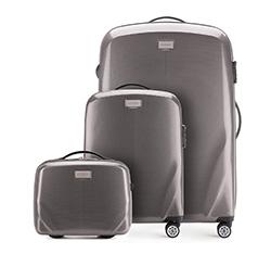 Комплект (Ручная кладь + большой чемодан + косметичка), серый, 56-3P-571_3_4-70, Фотография 1