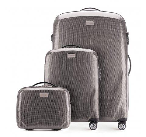 Комплект (Ручная кладь + большой чемодан + косметичка), серый, 56-3P-571_3_4-90, Фотография 1
