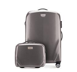 Комплект (Средний чемодан + косметичка), серый, 56-3P-572_4-70, Фотография 1