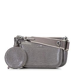Женская двойная кожаная сумка через плечо, серый, 92-4E-653-08, Фотография 1