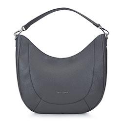 Кожаная сумка - полумесяц, серый, 93-4E-608-8, Фотография 1