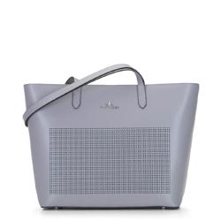 Кожаная сумка-шоппер с перфорацией, серый, 92-4E-640-8, Фотография 1