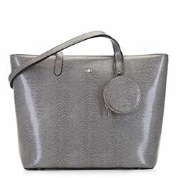 Кожаная трапециевидная сумка-шоппер, серый, 92-4E-642-08, Фотография 1