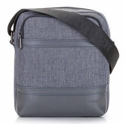 Мужская сумка через плечо из экокожи и ткани, серый, 92-4P-501-8, Фотография 1