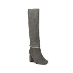 Замшевые сапоги на каблуке с ремешком на щиколотке, серый, 89-D-910-8-35, Фотография 1
