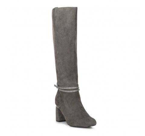 Замшевые сапоги на каблуке с ремешком на щиколотке, серый, 89-D-910-1-40, Фотография 1