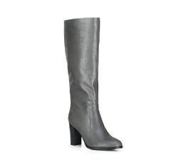 Утепленные кожаные сапоги на каблуке, серый, 89-D-963-8-36, Фотография 1