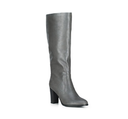 Утепленные кожаные сапоги на каблуке, серый, 89-D-963-8-41, Фотография 1