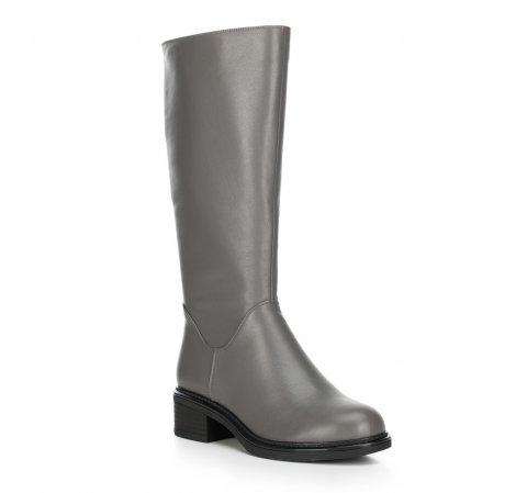 Женские кожаные сапоги на низком каблуке, серый, 89-D-965-8-41, Фотография 1