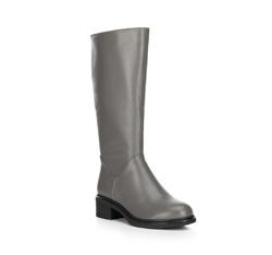 Женские кожаные сапоги на низком каблуке, серый, 89-D-965-8-36, Фотография 1