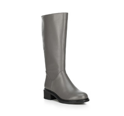Женские кожаные сапоги на низком каблуке, серый, 89-D-965-8-37, Фотография 1