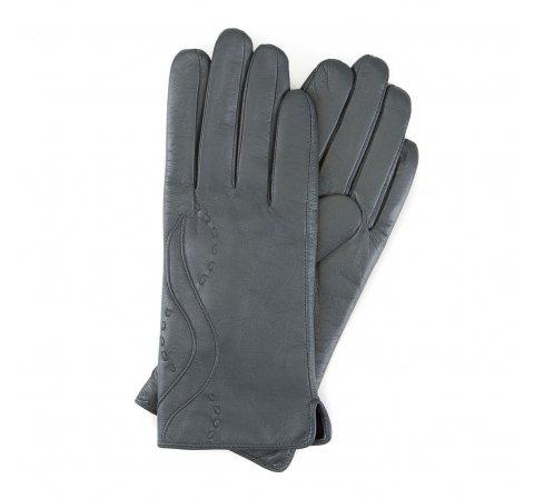 Женские кожаные перчатки с декоративным швом, серый, 39-6L-188-S-M, Фотография 1