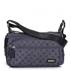 Женская сумка через плечо из жаккарда с монограммой и кожей, серый, 93-4-249-8, Фотография 1