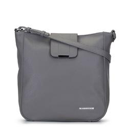 Прямоугольная сумка с металлическим значком, серый, 92-4Y-206-8, Фотография 1