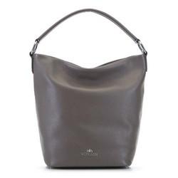 Сумка-шоппер из зернистой кожи, серый, 91-4-521-9, Фотография 1