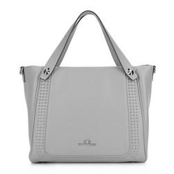 Кожаная сумка-шоппер с заклепками, серый, 92-4E-611-8, Фотография 1