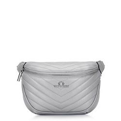 Женская кожаная сумка на пояс стеганая по диагонали, серый, 92-4E-656-8, Фотография 1