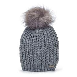 Женская плетеная шапка с помпоном, серый, 93-HF-002-8, Фотография 1