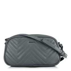 Женская сумка через плечо с зигзагообразной строчкой, серый, 92-4Y-601-8, Фотография 1
