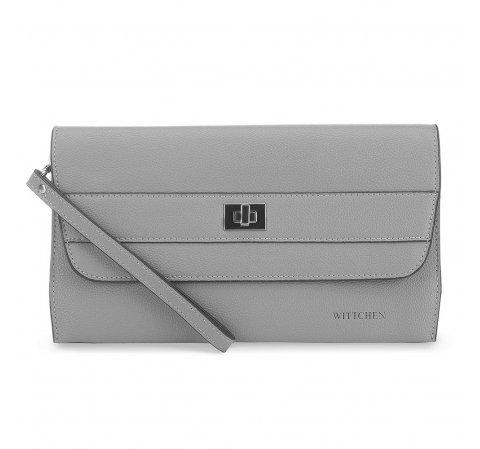Женская кожаная вечерняя сумка, серый, 91-4E-623-1, Фотография 1