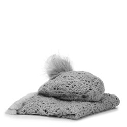 Женский зимний ажурный комплект, серый, 91-SF-002-8, Фотография 1