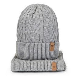 Мужской зимний комплект с косами, серый, 93-SF-004-8, Фотография 1