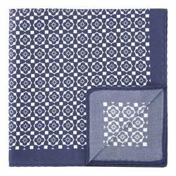 Большой шелковый нагрудный платок с рисунком, сине-белый, 92-7P-001-X2, Фотография 1