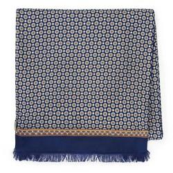 Мужской шелковый шарф на подкладке, сине - бежевый, 91-7M-S41-X1, Фотография 1