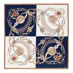 Платок женский, сине - бежевый, 89-7D-S31-X1, Фотография 1