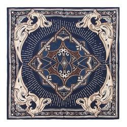 Шелковый шарф большой, сине - бежевый, 91-7D-S31-X4, Фотография 1