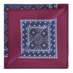 Карманный платок из шелка с рисунком, сине - бордовый, 91-7P-001-X4, Фотография 1