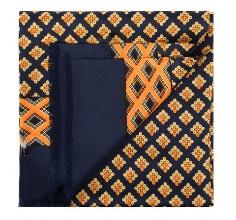 Шарф мужской, темно-синий-оранжевый, 88-7M-S40-X2, Фотография 1