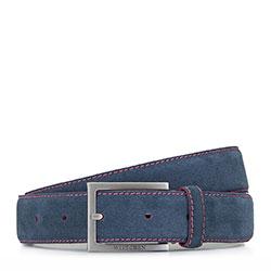 Ремень мужской кожаный велюровый с цветной строчкой, сине - розовый, 92-8M-380-7-11, Фотография 1