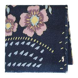 Женский шарф с цветами, сине - розовый, 91-7D-X30-X1, Фотография 1