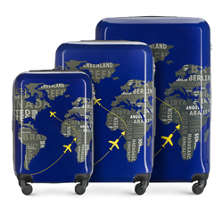 Комплект чемоданов, сине-серый, 56-3A-46S-9C, Фотография 1
