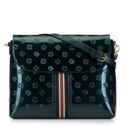 Damen-Umhängetasche aus Lackleder mit Monogramm und Bändchen, smaragdgrün, 34-4-233-0, Bild 1