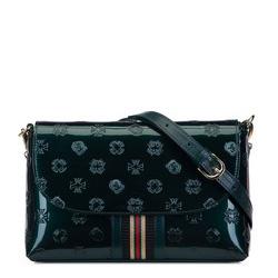 Damen-Umhängetasche aus Lackleder mit Monogramm und Bändchen, smaragdgrün, 34-4-232-0, Bild 1