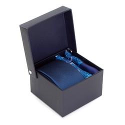 nyakkendő és díszzsebkendők összeállítása selyemből, sötét kék-kék, 91-7Z-001-X1, Fénykép 1