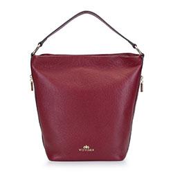 Női bőr kézitáska tágas zsebekkel, sötét vörös, 93-4E-613-3, Fénykép 1