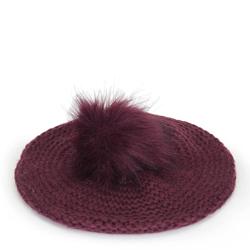 Női barett sapka kötött pomponnal, sötét vörös, 91-HF-013-2, Fénykép 1