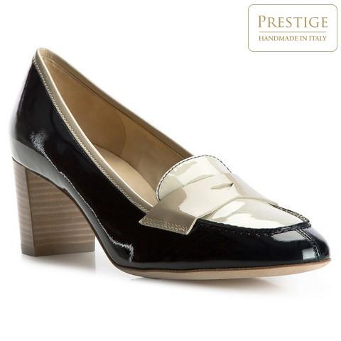 Női cipő, sötétkék-bézs, 82-D-105-7-35, Fénykép 1