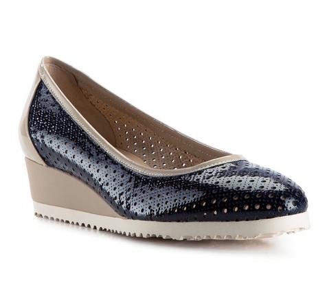 Női cipő, sötétkék-bézs, 82-D-108-0-40, Fénykép 1