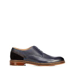 Cipő bőrből  öltönyhöz, sötétkék, 92-M-506-7-44, Fénykép 1