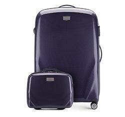Nagy bőrönd és neszeszer poliokarbonátból, sötétkék, 56-3P-573_4-90, Fénykép 1