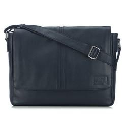 Férfi bőr postás táska fedéllel, sötétkék, 91-4U-312-7, Fénykép 1