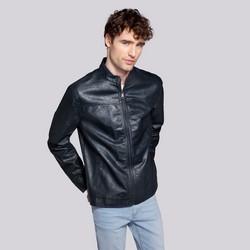 Férfi klasszikus ecobőr kabát, sötétkék, 92-9P-150-7-XL, Fénykép 1