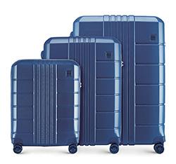 Háromrészes bőröndszett polikarbonát, sötétkék, 56-3P-82S-90, Fénykép 1